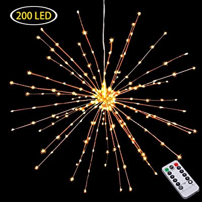 Hanging Decorative Lights, 200 Led Firework Lights Battery Powered, Tent Chandelier Remote Control, Waterproof Starburst Lights for Gardens Courtyards Porches Christmas Party Decorations, Warm White : Garden & Outdoor