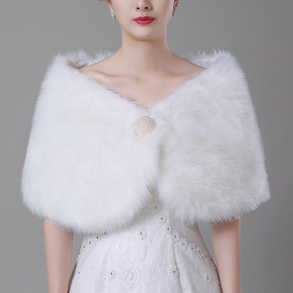Bridal Ivory Faux Fur Jacket Coat Shawls iShine Scialli di Pelliccia Finta Accessori da Sposa