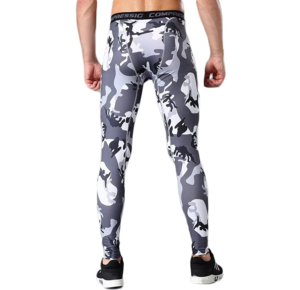 Sanke Camo Compression Leggings Workout Performance Running Tights Long Pants
