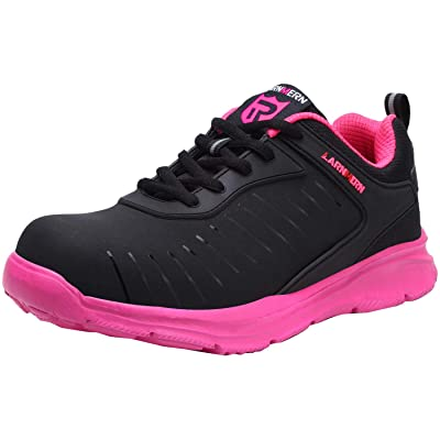 LARNMERN Safety Indestructible Work Shoes Women Steel Toe Shoes Lightweight Womens Breathable Men Safety Working Sneakers Industrial Construction Shoe 33(6 Women, Rose Red): Shoes