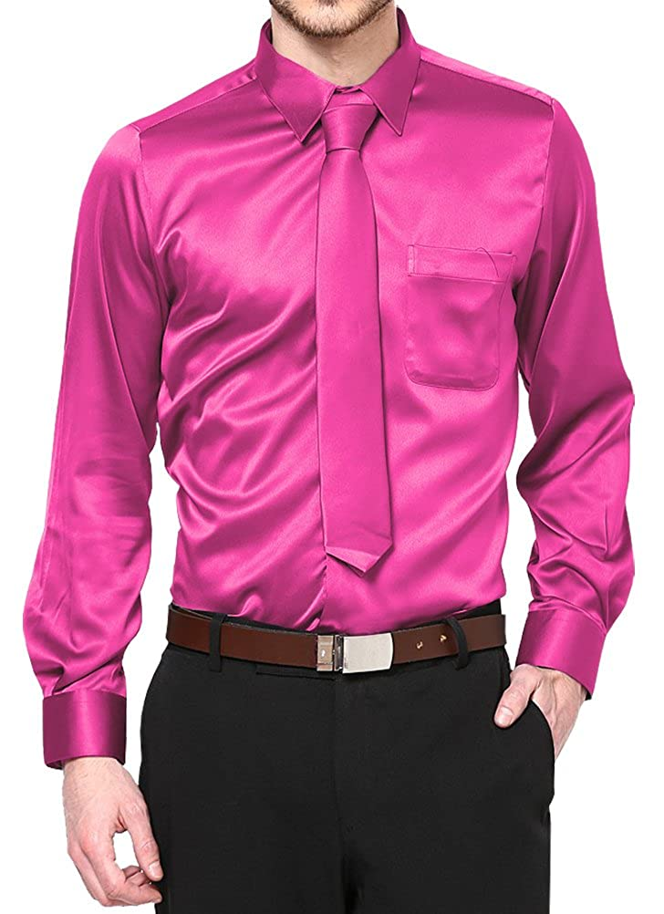 Daniel Ellissa Hot Pink Satin Dress Shirt with Neck Tie and Hanky Kids to Youth Sizes
