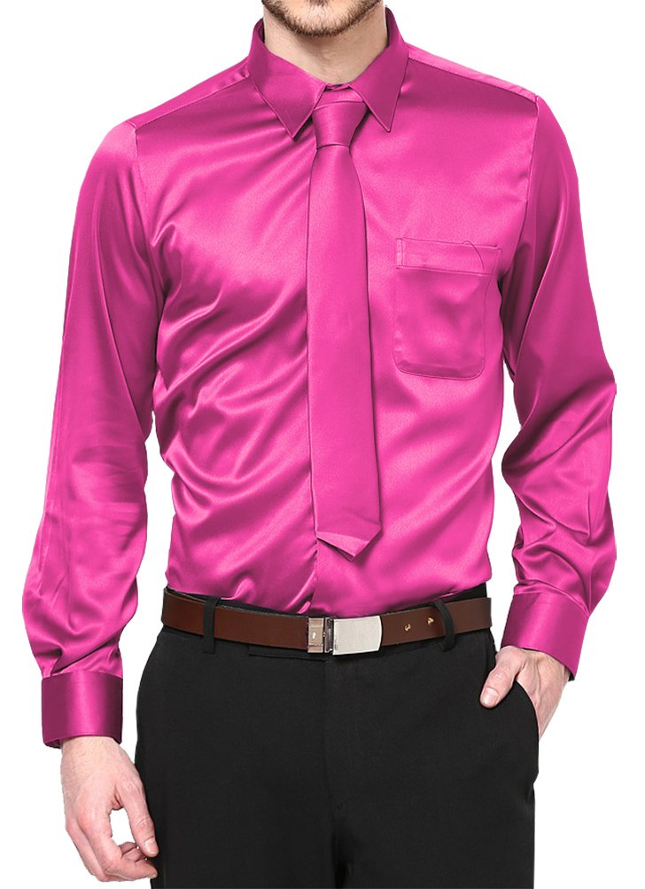 Hot Pink Satin Dress Shirt with Neck Tie and Hanky Kids to Youth Sizes (Kid's 08)