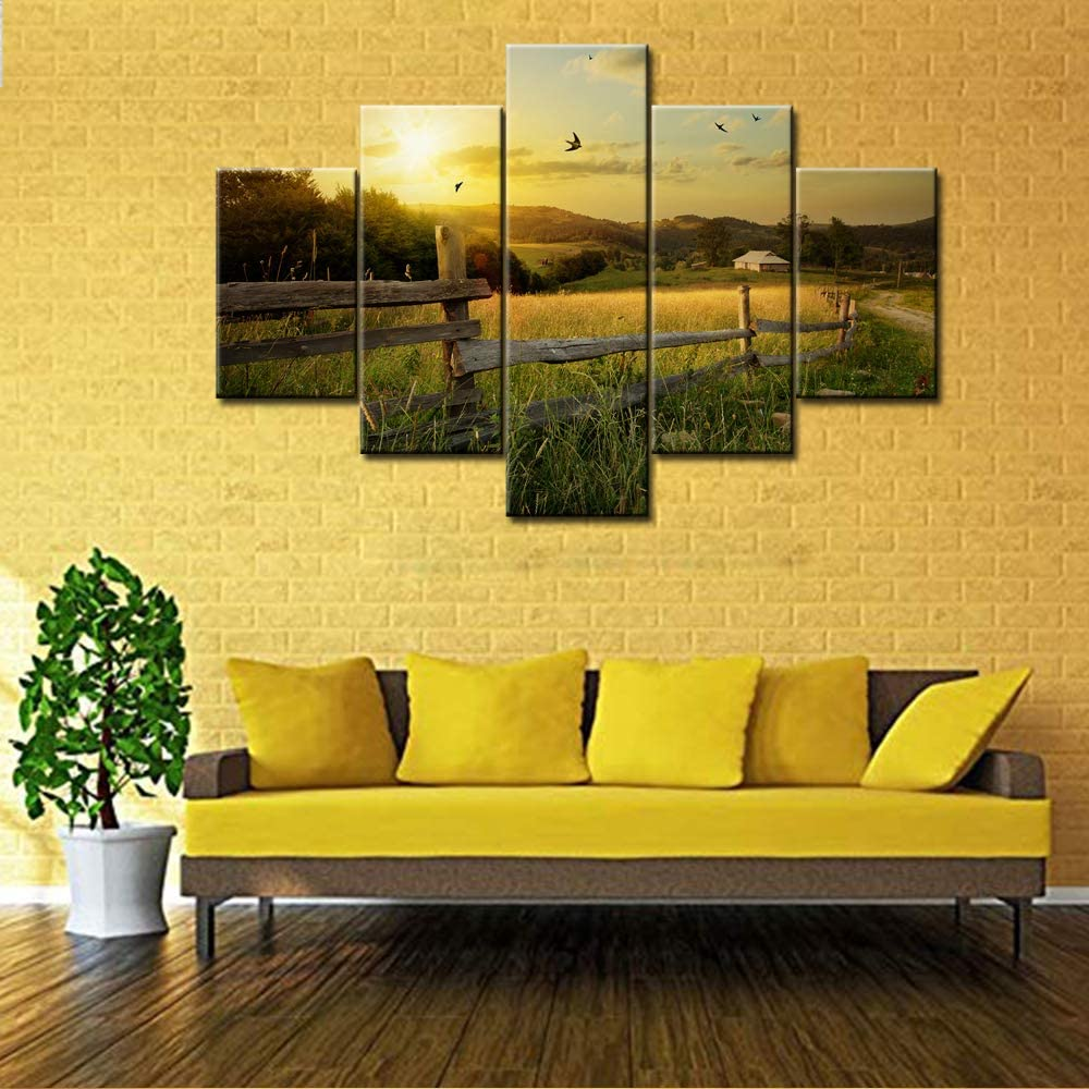 TUMOVO Large 5 Piece Canvas Wall Art Idyllic Rural Landscape in Golden Light Dawn Farm Tree Picture Prints Field and Grass Poster Modern Home Decor Stretched and Framed Ready to Hang - 60