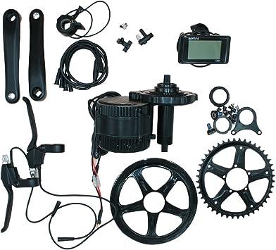 Bafang Kit de transmisión eléctrica para bicicletas de montaña, bicicletas de carretera, kit de conversión híbrida de bicicletas, kit de conversión de motor medio BBS01B 36 V 48 V 46T C961, 48V:
