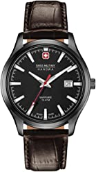 Swiss Military Hanowa Mens 40mm Brown Leather Band Steel Case Quartz Black Dial Watch 06-