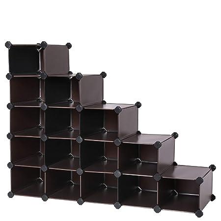 Scarpiere Componibili In Plastica.Songmics 16 Cube Diy Plastica Scarpiera Componibile Mensole