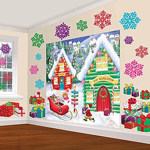 Winter Wonderland Christmas Party North Pole Mega \Value Scene Setters Wall Decorating Kit (pack of 32), Multicolor, One Size