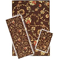 Rubber Backed 3-Piece Area Rug SET Non-Slip BROWN Floral 18 x 31 - 20 x 59 - 5 x 67