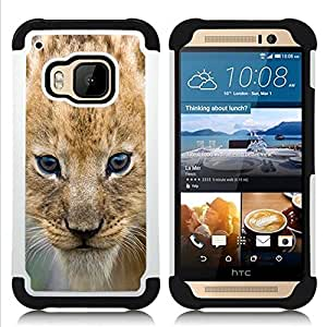 For HTC ONE M9 - Lion Cub Puppy Wild Cat Africa Safari Brown Eyes /[Hybrid 3 en 1 Impacto resistente a prueba de golpes de protecci????n] de silicona y pl????stico Def/ - Super Marley Shop -