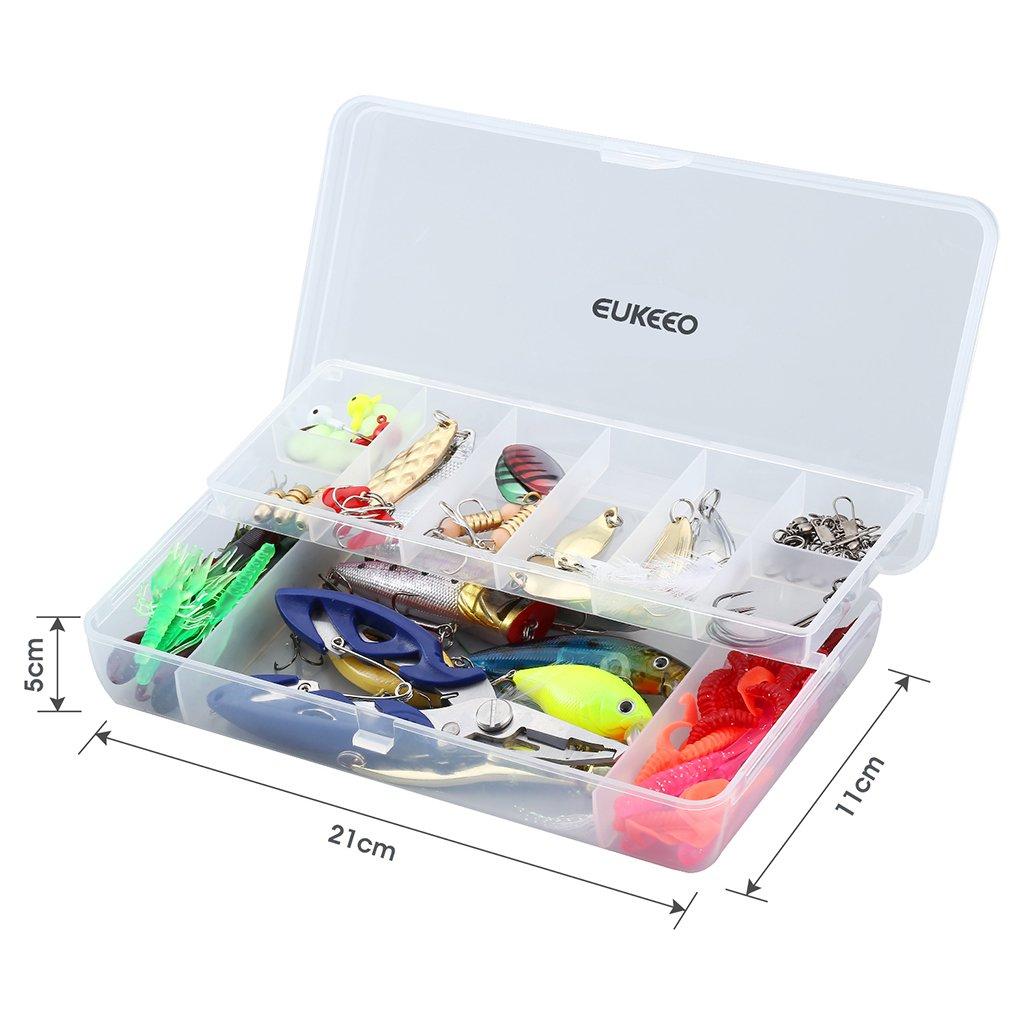 ENKEEO 106 Pezzi Kit di Esche Artificiali da Pesca Rigide Morbide e di Metallo con Scatola per Conservare Forbici in Omaggio