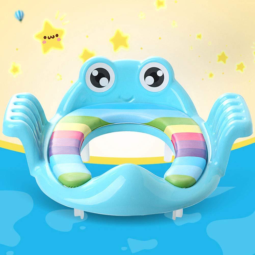 Naisicatar Multi Fonction Enfant assist/ée Si/ège de Toilette Cartoon b/éb/é Petit Pot cr/éatif Double Accoudoirs Design Enfant Toilettes Anneau pour la Maison 1pc Bleu