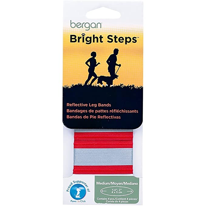 Amazon.com : Bergan Bright Steps Reflective Leg Bands for Dogs, Medium, Red : Pet Training And Behavioral Aids : Pet Supplies