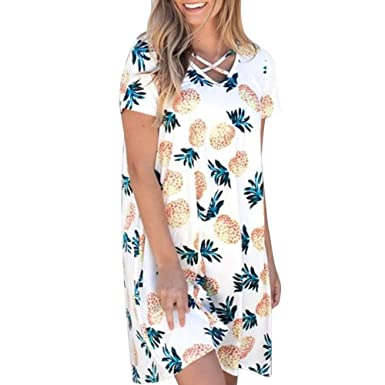d51ae4250d Womens Casual Pineapple Print Lace up Short Sleeve V-Neck Mini Dresses  Summer Beach Party T-Shirt Dresses (White