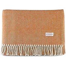 Sferra Celine Herringbone, 100% Cotton Throw Blanket - Paprika