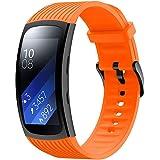 腕時計バンド TATANANA 時計スマートウォッチ サムスンギアFit2 Proスポーツソフトシリコン交換ストラップスポーツストラップ 防水 気軽に差し替える (オレンジ)