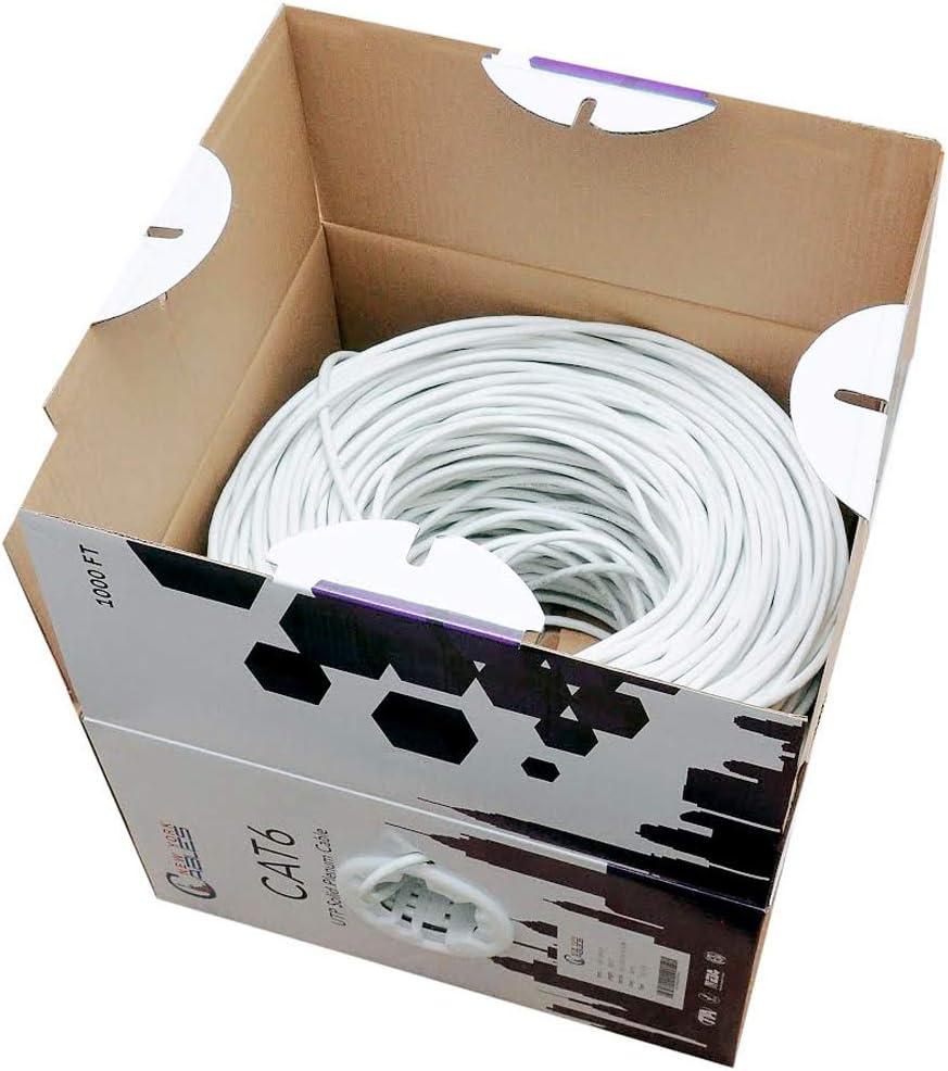 ETL Listed CAT6 Plenum White Yellow /& Red 550MHz 23AWG White UTP Green Blue CMP Bulk 1000ft Ethernet Cable FLUKE Tested