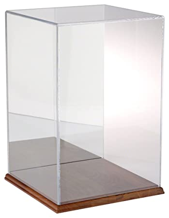 Plymor Clear Acrylic Display Case with Hardwood Base Mirror Back , 10 W x 10 D x 15 H