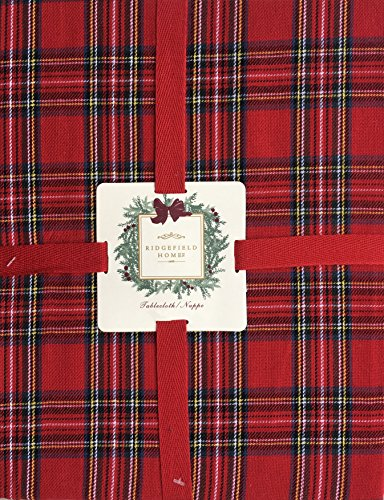 Ridgefield Home Fabric Cotton Christmas Holiday Scottish Plaid Tartan Pattern Tablecloth Red Black Green White Blue 52 Inches by 70 (Scottish Christmas Green)