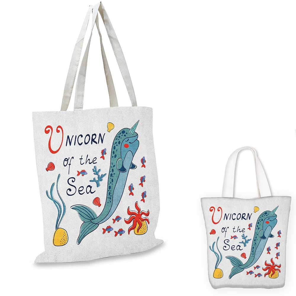 16x18-13 Narwhal canvas messenger bag Arctic Ocean Fauna with School of Fish Narwhal and Jellyfish Sketch canvas beach bag Royal Blue Coral Baby Blue