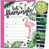 Health & Personal Care : Let's Flamingle Party Invitations with Pink Flamingo and Palm Leaves. 25 Hot Pink Envelopes and Fill in Invites for Soirees, Bridal Showers, Baby Showers, Birthdays, Graduations, Summer Parties