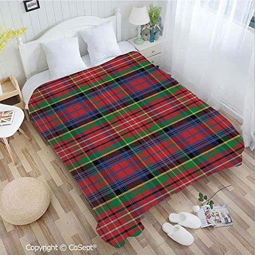 PUTIEN Luxury Flannel Blanket,Scottish Traditional Skirt Pattern Tartan Motif Abstract Squares Ornate Quilt Decorative,for Bed,Couch,Car(72.83