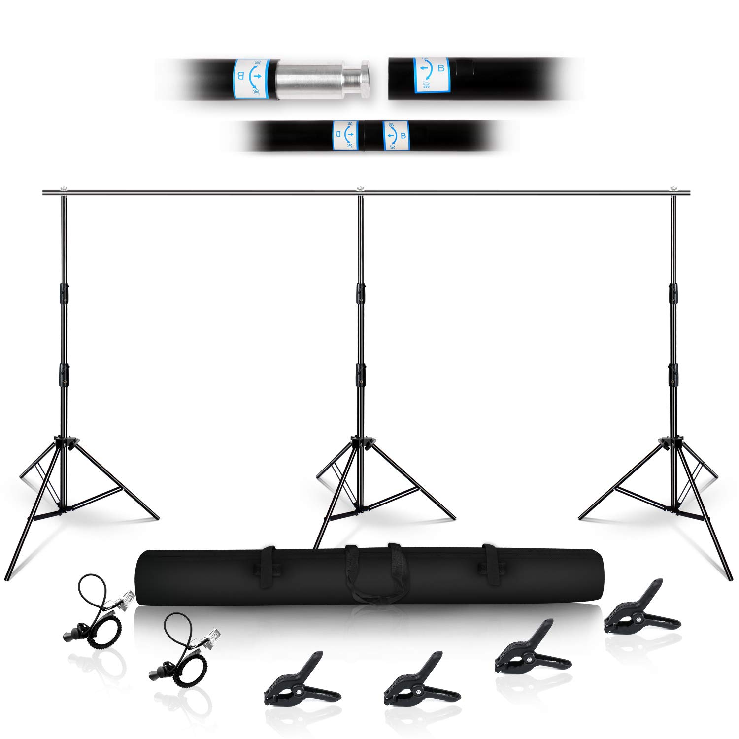 3x7M Heavy Duty Background Support Kit with Carrying Case Background Backing Support for Professional Photo Studios by YiXiang