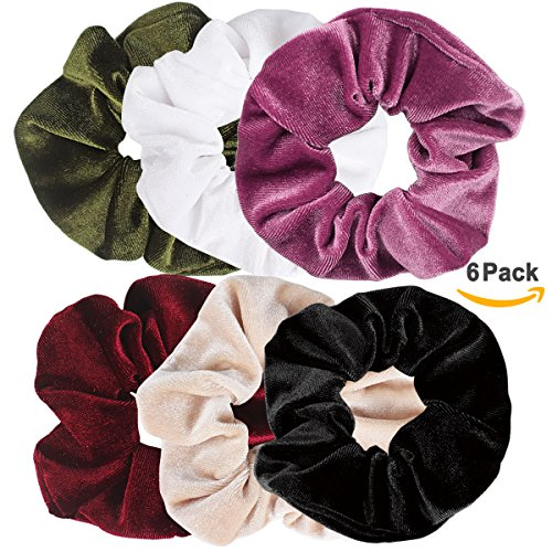 Price comparison product image Jaciya 6 Pack Velvet Scrunchies Hair Elastics Scrunchy Bobbles Soft Elegant Elastic Hair Bands Hair Ties, 6 Colors