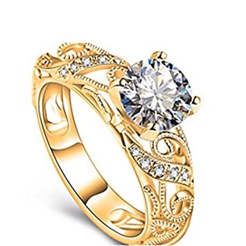 Amazon Com Clearance Rings Sunward Women Floral Transparent Diamond