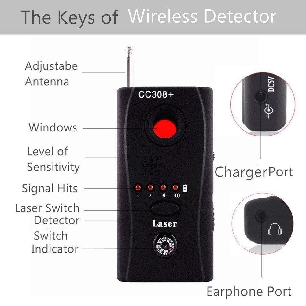 AGPtek® CC308 Anti-Spy Signal Bug RF Detector Hidden Camera Laser Lens GSM  Device Finder - Mute Vibration + Beep + LED indicator , Earphone and