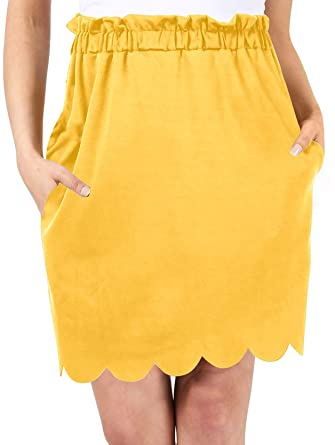7a8e62b47f Yellow Straight Skirt Formal Skirts for Women Office Skirts for Women  Stretch Pencil Skirt (Size
