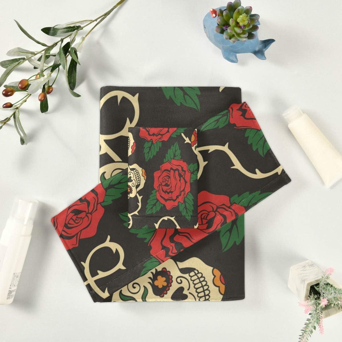 LENNEL Cozy Durable Towel Juego de 3 Piezas Toalla de ba/ño Calaveras de az/úcar Suave