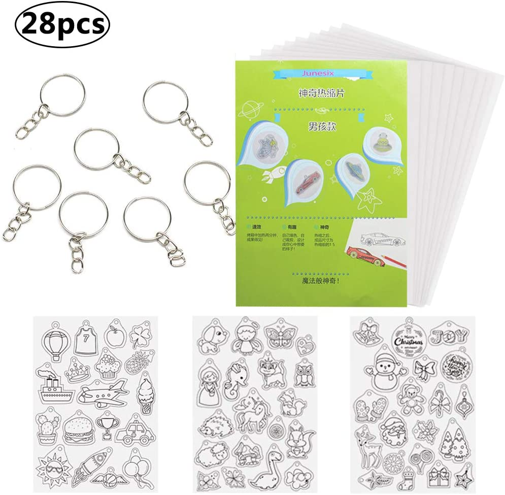 BESTZY 28pcs Transparente mate Shrinky dinks Placas Retráctiles Plastico magico imprimible