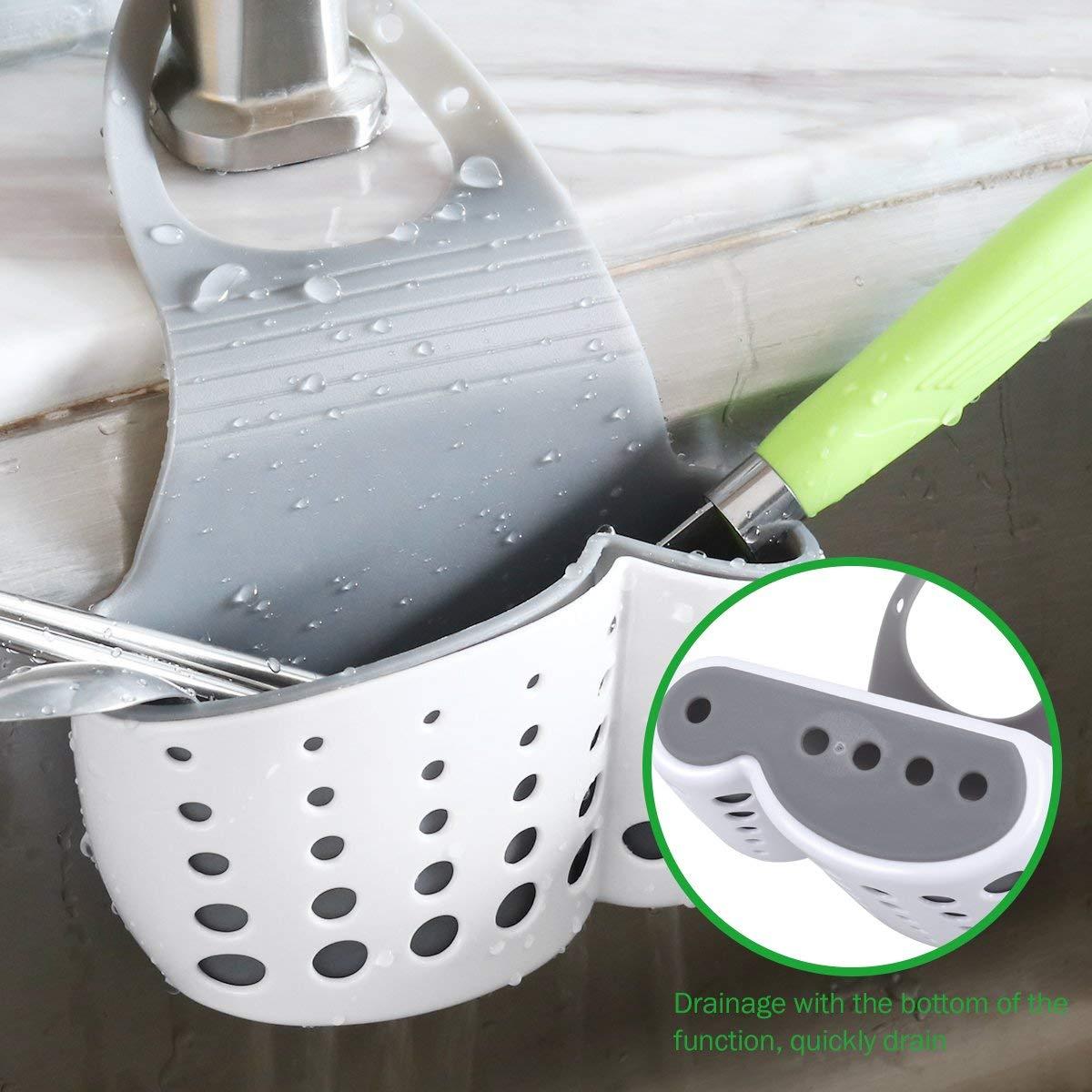 Soporte para Jab/ón Blanco GS Estante de Almacenamiento para Fregadero Organizador de Fregadero Cocina Cesto Porta Esponja Jabonera Blanco