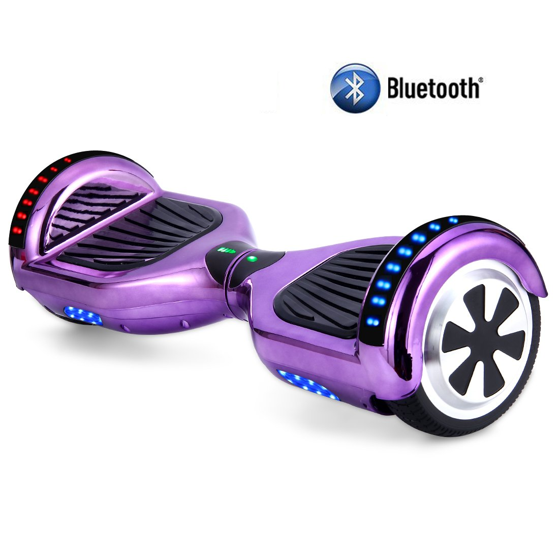 STF-Life UL 2272 Certified Hoverboard with Bluetooth Speaker and LED Lights, Smart Personal Two- Wheel Electric Self Balancing Scooter Transporter for Kids and Adults-Chrome Purple