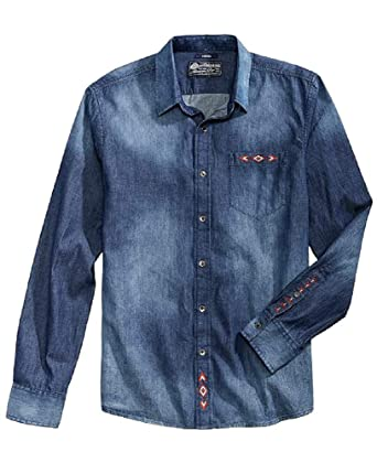 American Rag Men S Geo Embroidered Denim Shirt At Amazon Men S