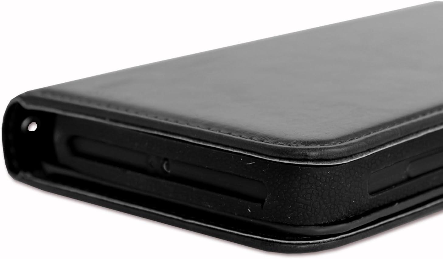 fermeture magn/étique et surpiqures apparentes PH26/® Etui housse folio pour Logicom M Bot 60 format portefeuille en /éco-cuir noir avec double clapet int/érieur porte cartes