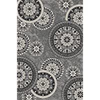 Bandelini Napoli Collection Modern Contemporary Floral Live Rectangular Circular Design Rubber-Backed Non-Slip (Non-Skid) Area Rugs | Thin Low Pile Indoor/Outdoor Gray Rug (5' x 7')