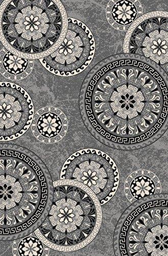 Bandelini Napoli Collection Modern Contemporary Floral Live Rectangular Circular Design Rubber-Backed Non-Slip (Non-Skid) Area Rugs | Thin Low Pile Indoor/Outdoor Gray Rug (3'3