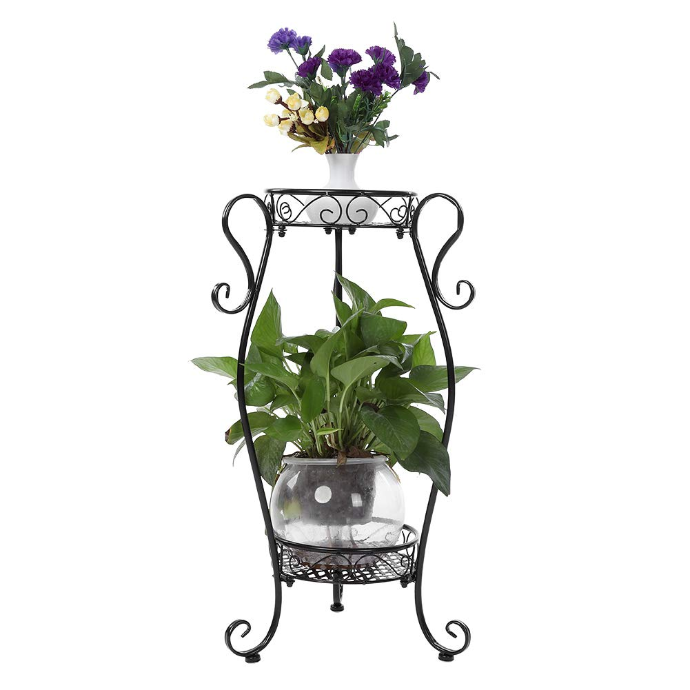 GOTOTOP 2 Tiers Iron Flower Pot Rack Decorative Metal Stands for Indoor Outdoor Balcony Living Room Standing Flower Pot Plant Display Shelf Stand Holder Black