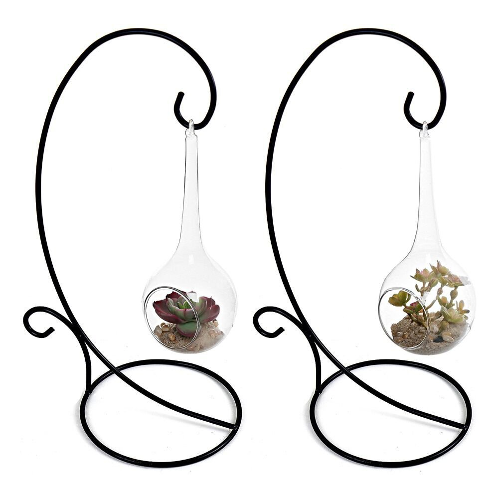 YK Decor Christmas Ornament Display Stand Lantern Hook Hanging Stand Rack Holder for Hanging Air Plant Glass Globe Terrarium Witch Ball Home Wedding Decoration Set of 2(Large)