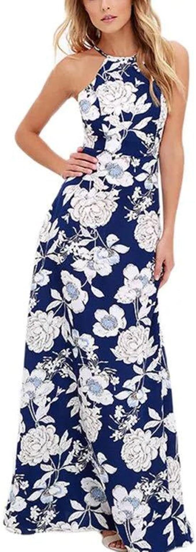 Wvsender Damen Elegant Lang Vintage Kleider Cocktailkleid Frauen Halter Backless Maxi Kleid Marine Blaue Blumenelegante Sommer Strandkleid Xl Blau Amazon De Bekleidung