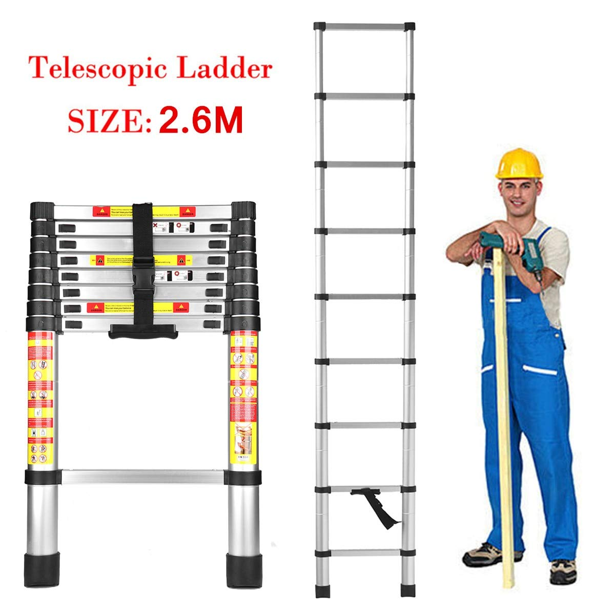 HOME BUY Telescopic Ladder, Folding Step Ladder