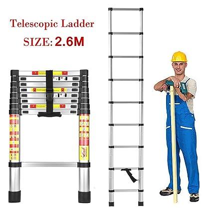 HOME BUY Telescopic Ladder, Folding Step Ladder, Aluminium, 2.6 Meter (8.5 Feet) Height