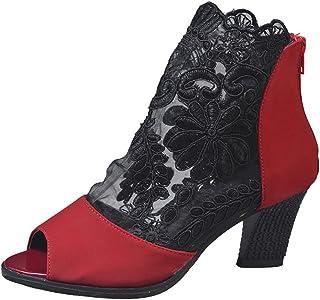 Escarpin Femme,Chaussures à Lacets pour Femmes avec Fermeture à glissière et Bout Ouvert,Chaussures à Talons Bas Chaussures à Lacets pour Femmes avec Fermeture à glissière et Bout Ouvert Chaussures à Talons Bas KA181212BA1373