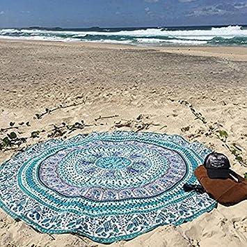Wuudi Toalla de Playa, Toalla de Playa, Toalla de Yoga, Toalla Redonda con Diseño de Elefante ...