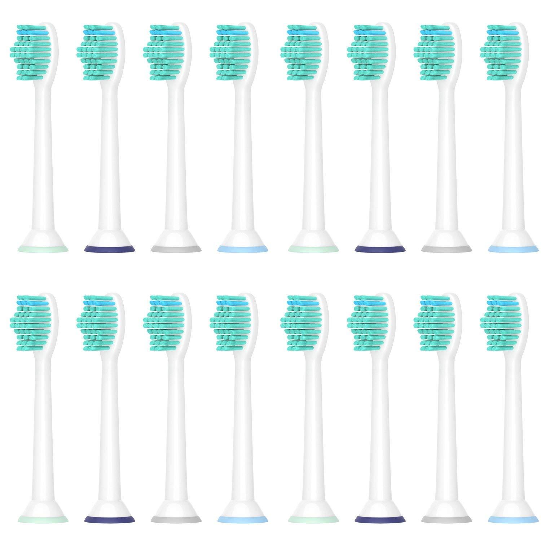 WuYan 交換用 ブラシヘッド 互換性 Sonicare Philips Sonicare 歯ブラシ 頭部 ダイヤモンド用 Philips ヘルシーホワイト+ Flexcare プラチナ プロの結果、敏感 ブラシヘッドに対応 16 パック B07DQHKGCH   16 パック