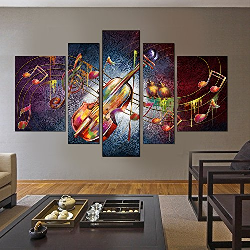 Systemsgear 5 Panels Music Guitar Canvas Painting Abstract Modern Artwork Fashion Wall Art Canvas for Living 24