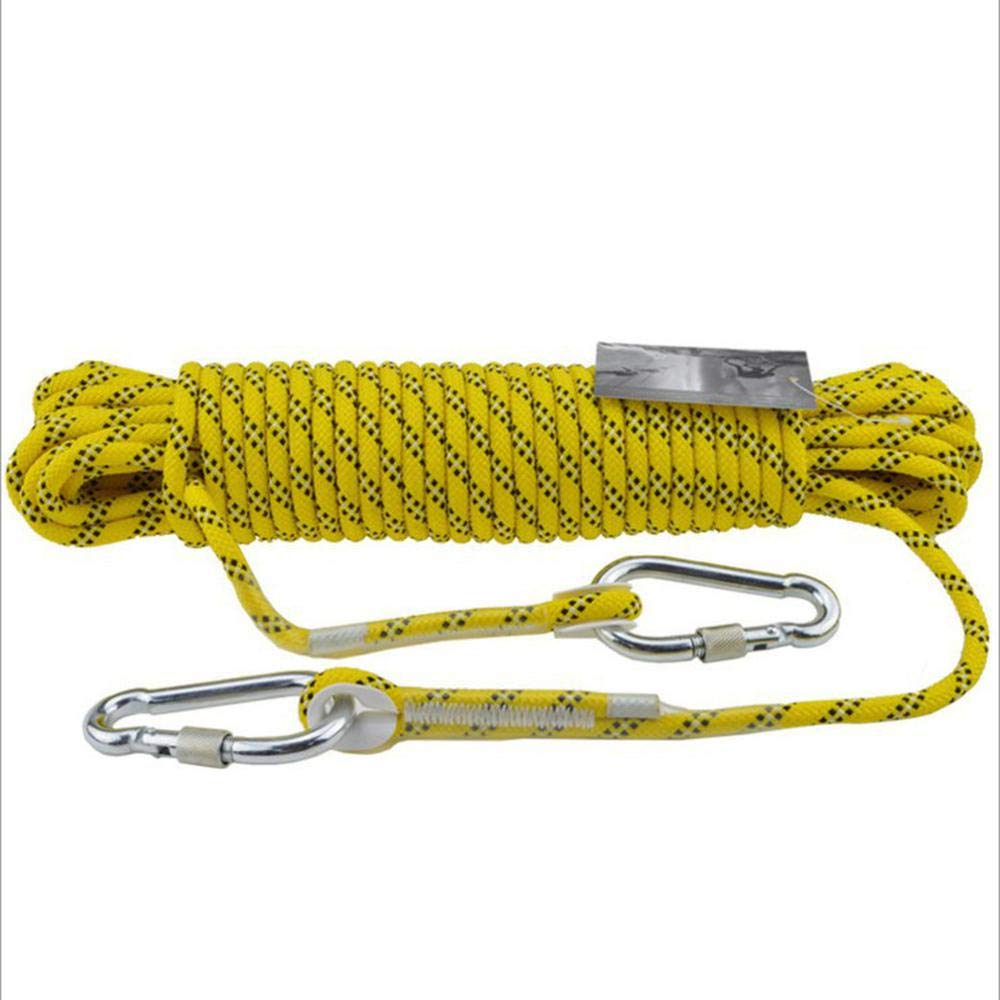 Jaune LINLIM 12mm Haute Altitude Corde De Sécurité Corde d'escalade Rappelant La Corde Statique Porter La Corde d'escalade Extérieure Lifesaving évasion Corde rouge-12mm20m 12mm15m
