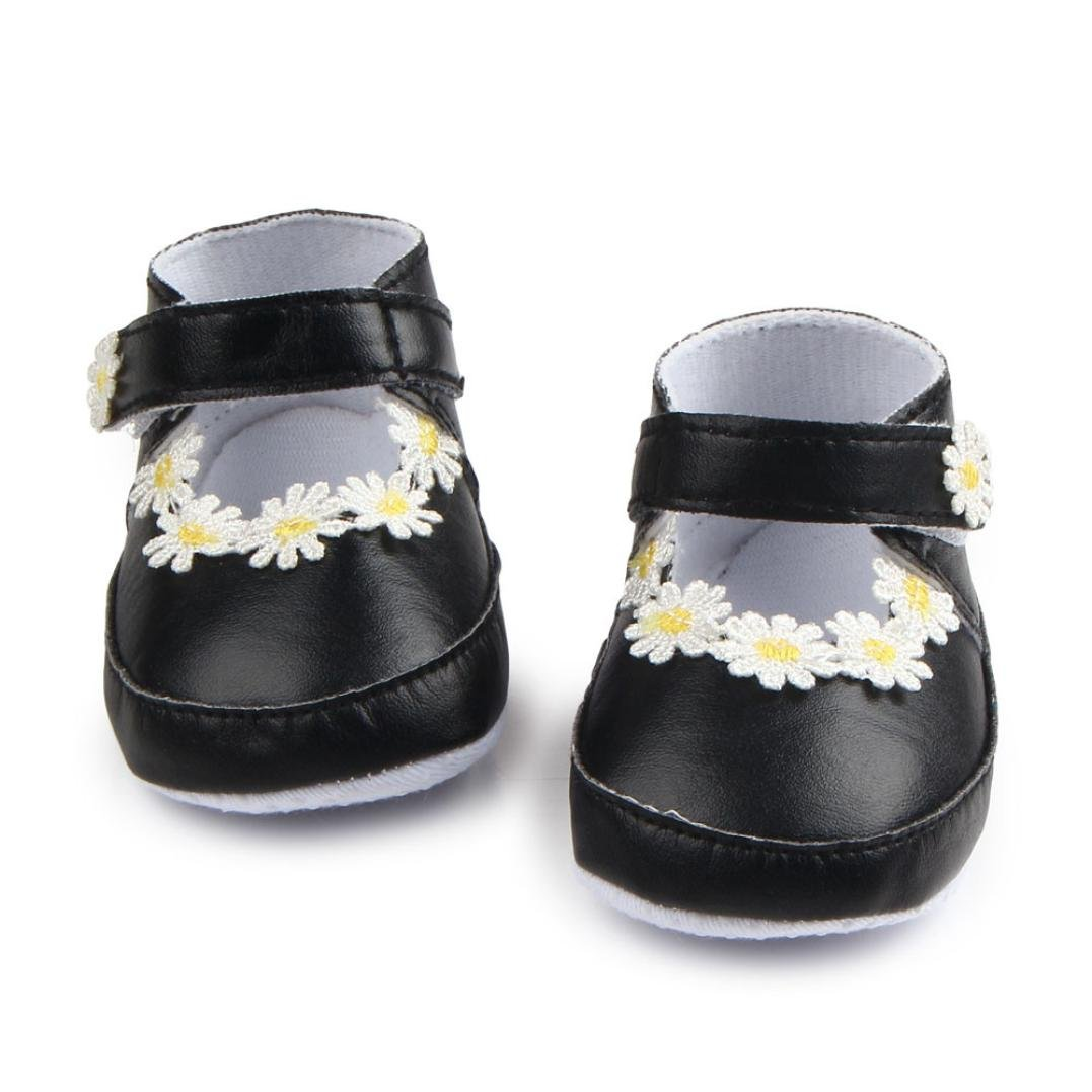 Voberry Baby Girl Flower Mary Jane Shoes Soft Sole First Walkers Shoes
