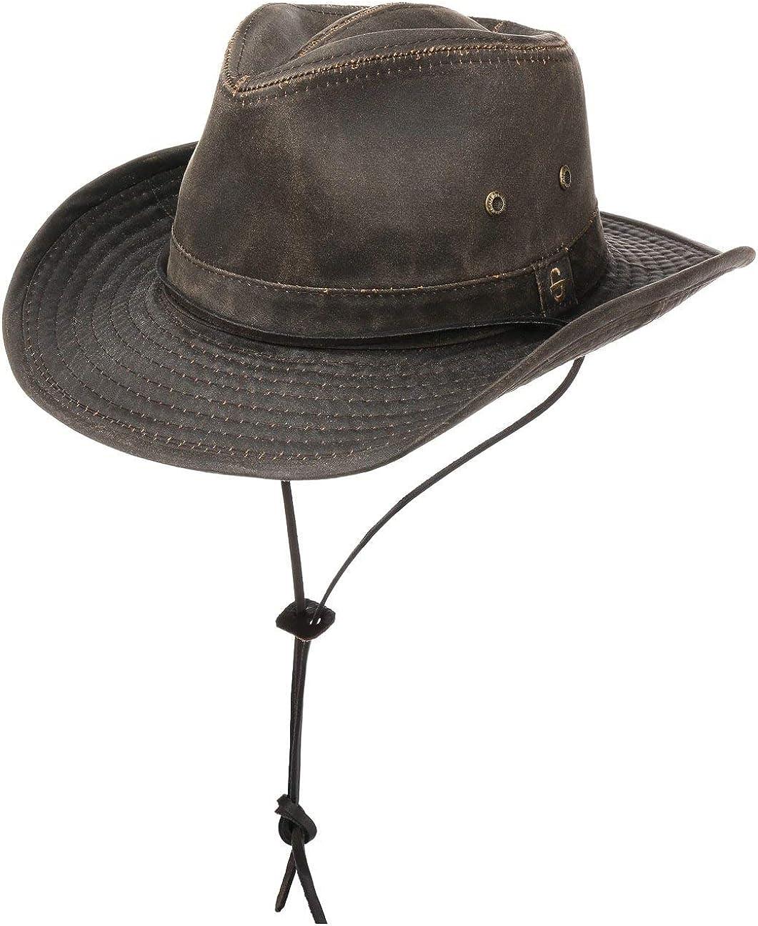 Stetson Sombrero Diaz Mujer/Hombre - de Vaquero Tela Look Vintage con Tira para el mentón, Ribete, Flecos Verano/Invierno